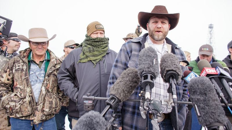 Ammon Bundy and his fellow religious extremists (Credit: Rob Kerr/Getty)