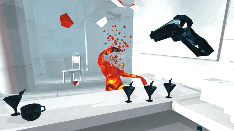 Above: Superhot VR, currently only available on Oculus Rift.