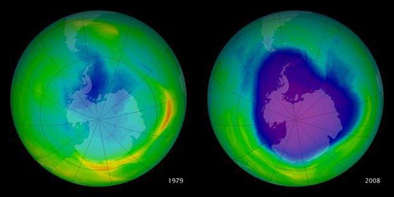 El agujero en la capa de ozono en 1979 y 2008. En 2000 alcanzó su máximo tamaño y desde entonces se está recuperando
