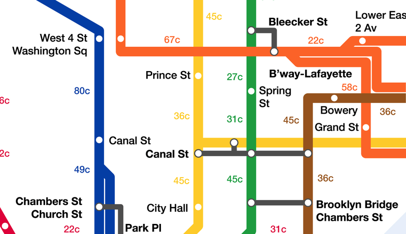 This NYC Subway Map Shows How Many Calories You Could Be Burning By Walking