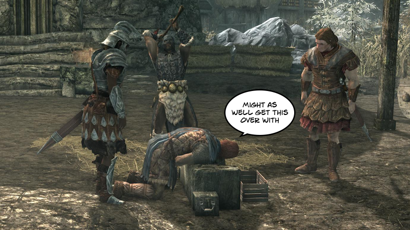 Illustration for article titled In Memory Of The Guy Who Gets Beheaded At The Beginning Of Skyrim