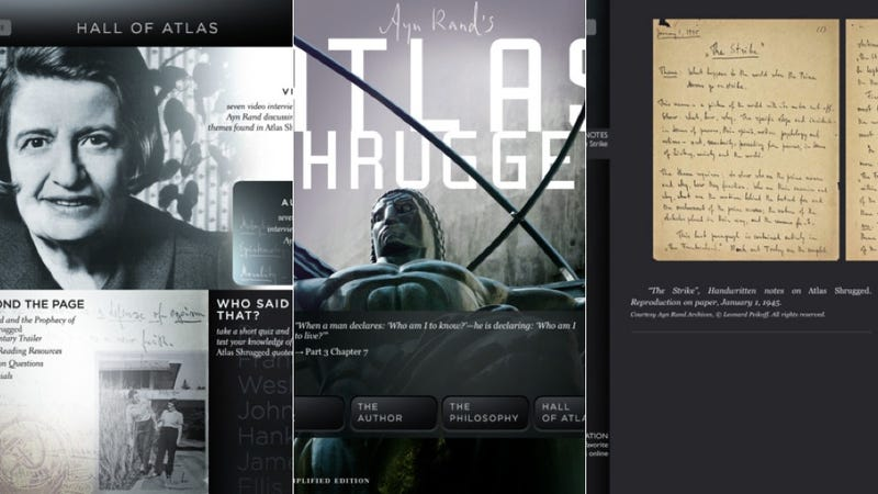 Illustration for article titled Noted Literary Dunce Ayn Rand Finally Goes Interactive with Atlas Shrugged App
