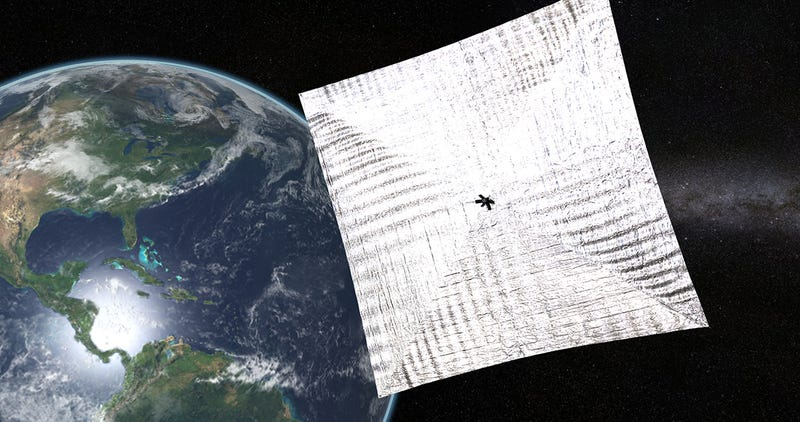 Illustration for article titled Un rayo cósmico logra reiniciar la nave con velas solares Lightsail