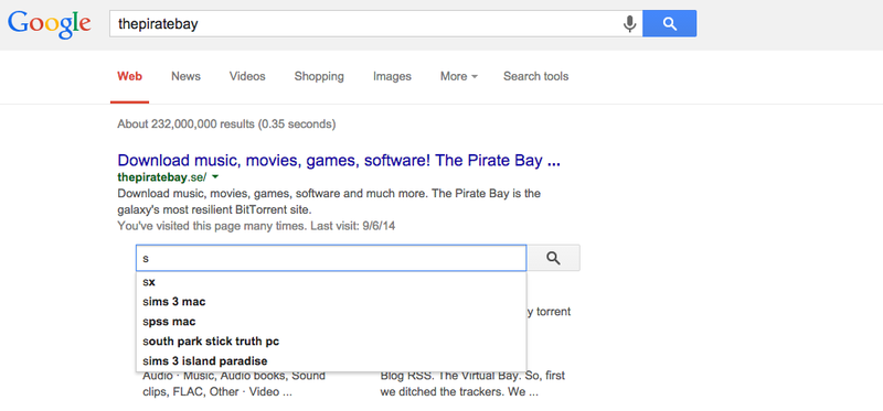 Illustration for article titled Google Has a Custom Search Just for the Pirate Bay