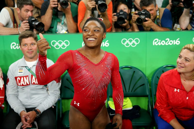 Simone Biles celebrates winning the gold medal in the Women's Vault Final at the Rio de Janeiro Olympic Games on Aug. 14, 2016.Alex Livesey/Getty Images