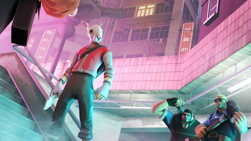 Illustration for article titled Este crossoverentre Team Fortress 2 y Hotline Miami debería ser real