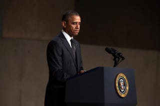 President Barack Obama during the dedication ceremony at the National September 11 Memorial & Museum May 15, 2014, in New York CityChris Pedota-Pool/Getty Images