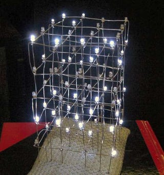 Diy led chandelier from xmas lights xmas is almost over use this tutorial to make an led lamp from christmas lights which is a good way to get use out of them the other 11 months of the aloadofball Choice Image