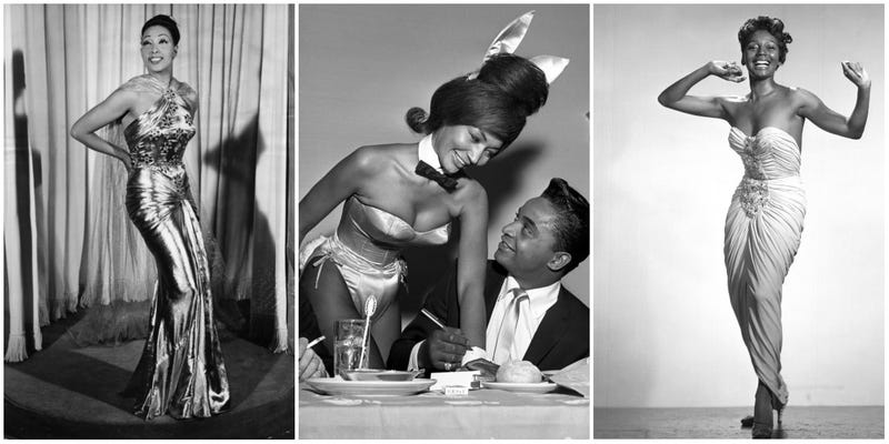 Famed entertainer Josephine Baker; a Playboy Club cocktail waitress getting her cuff signed by singer Jackie Wilson; entertainer Joyce Bryant. All are wearing garments designed by Zelda Wynn Valdes.