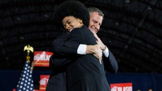 New York City Mayor Bill de Blasio hugs his son, Dante de Blasio, at his election night party Nov. 5, 2013, in New York City.Andrew Burton/Getty Images