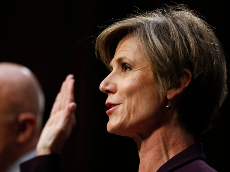 """Former acting Attorney General Sally Yates is sworn-in on Capitol Hill in Washington, Monday, May 8, 2017, prior to testifying before the Senate Judiciary subcommittee on Crime and Terrorism hearing: """"Russian Interference in the 2016 United States Election."""" (AP Photo/Carolyn Kaster)"""