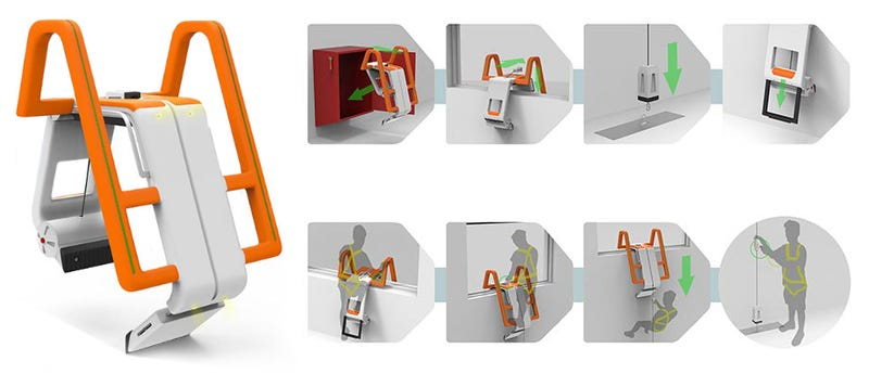 Illustration for article titled This cool concept will let you escape a fire like a SWAT commando