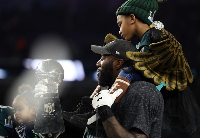 Malcolm Jenkins of the Philadelphia Eagles kisses the Vince Lombardi Trophy after defeating the New England Patriots 41-33 in Super Bowl LII at U.S. Bank Stadium on Feb. 4, 2018, in Minneapolis. (Patrick Smith/Getty Images)