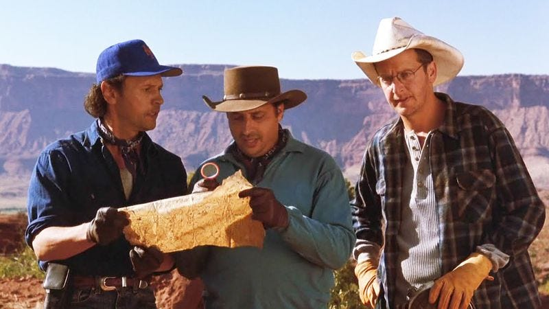 Billy Crystal, Jon Lovitz, and Daniel Stern in City Slickers (Image: Screencap)