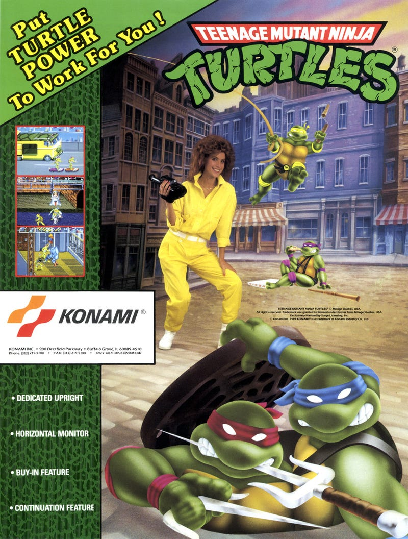 Illustration for article titled The Arcade Flyer For The Classic TMNT Arcade Game