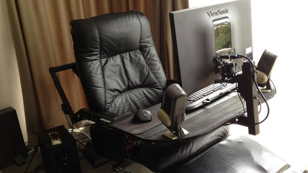 A Computer In A Leather Recliner A Compact And