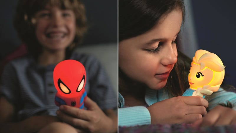 Illustration for article titled Philips' New Lights Are Glowing Versions Of Elsa, Olaf, and Spider-Man