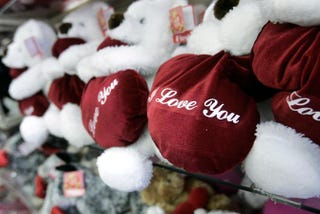 """I love you"" teddy bears on a store shelf in New York City Feb. 10, 2005 Stephen Chernin/Getty Images"