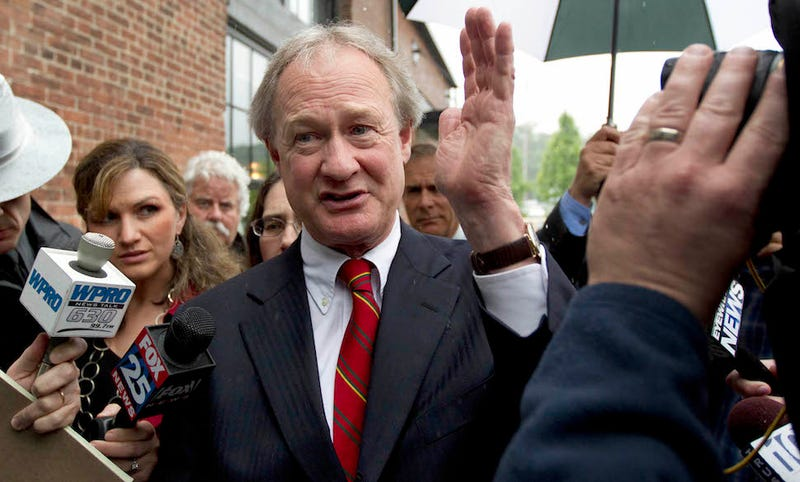 Illustration for article titled Lincoln Chafee Drops Out of Presidential Race, Announcer Gets His Name Wrong
