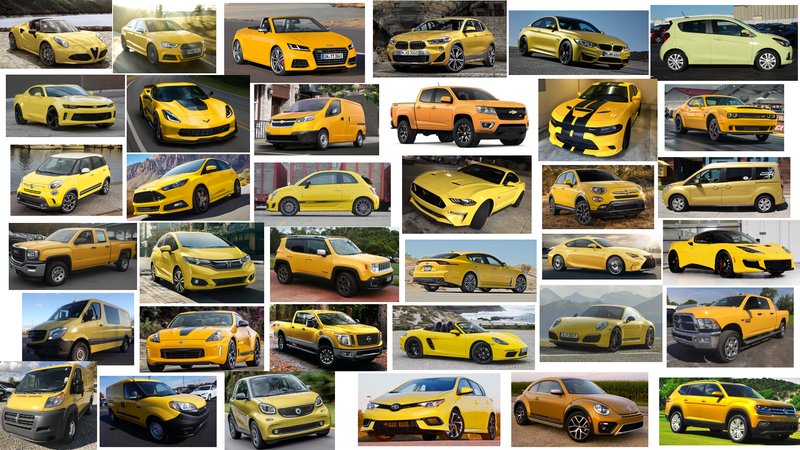 Illustration for article titled Every Yellow New Car On Sale in the US - 2018 Edition!