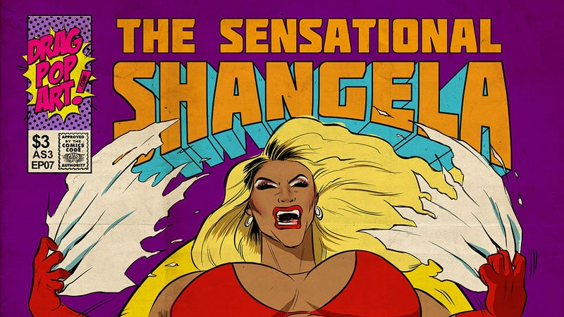 Shangela going through a Hulk-like costume transformation in one of Cheyne Gallarde's illustrations.