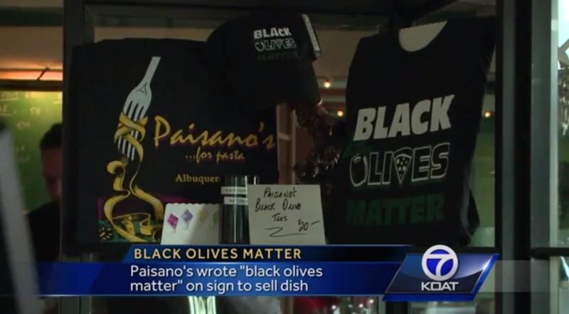 "The ""Black Olives Matter"" T-shirts and hats that Paisano's in Albuquerque, N.M., has been selling after sparking controversy last monthKOAT screenshot"