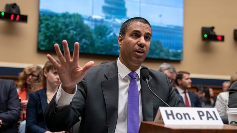 Ajit Pai, chairman of the Federal Communications Commission, testifies as the House Energy and Commerce Committee holds an oversight hearing of the FCC, on Capitol Hill in Washington, Wednesday, May 15, 2019.