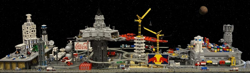 Illustration for article titled Man's first space civilization envisioned in this INCREDIBLE Lego city