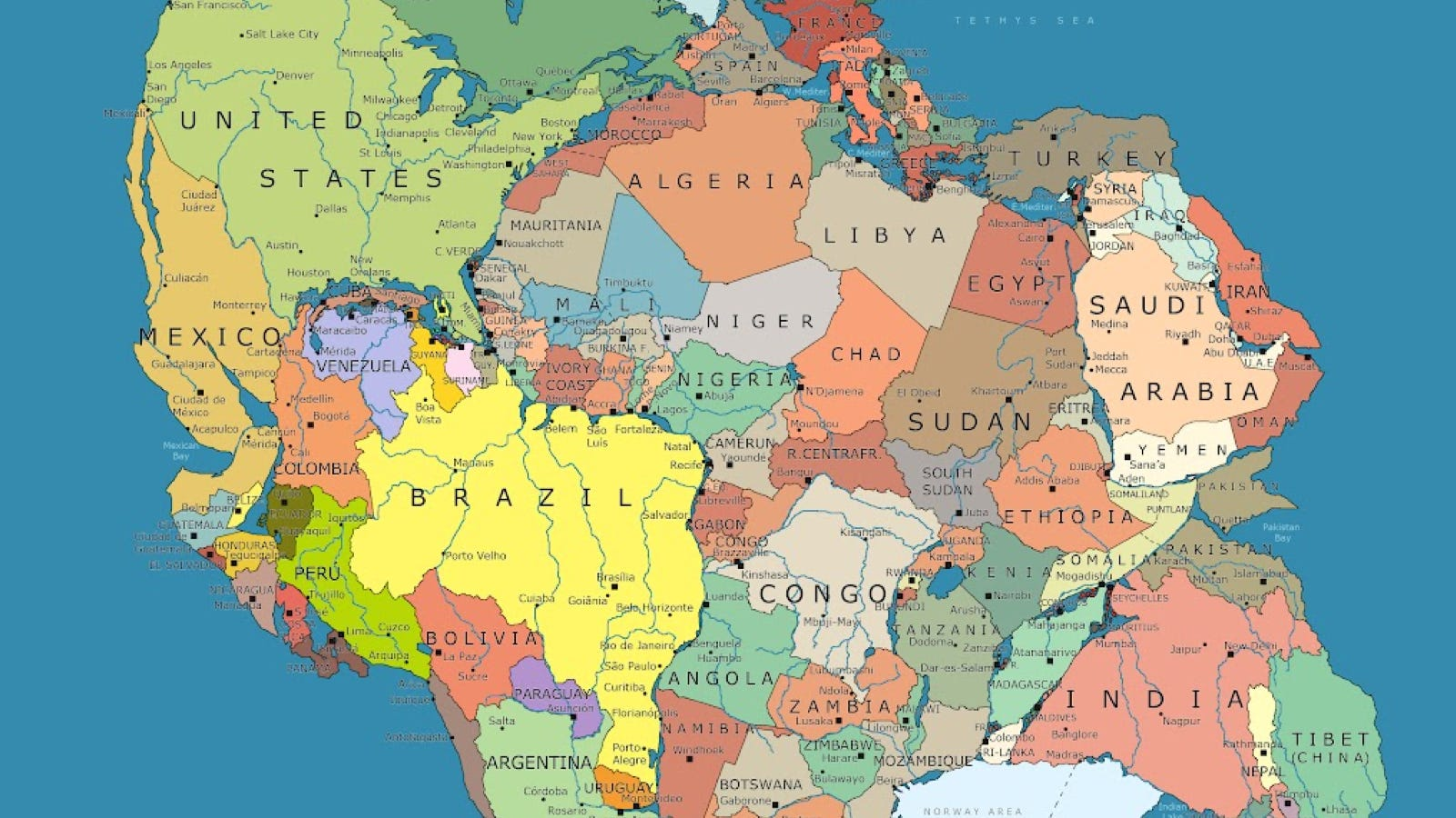 Heres What Pangea Looks Like Mapped With Modern Political Borders - World map la