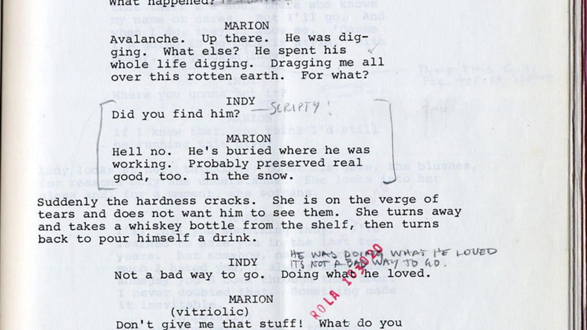 Read Harrison Ford's original script notes from Raiders of