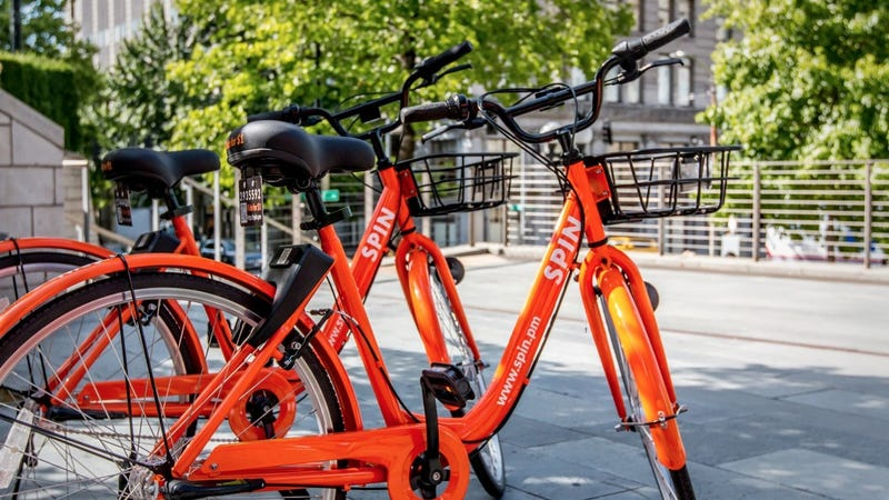 Spin is one of five dockless bikeshare services operating in D.C. Photo: Spin