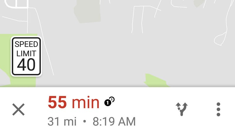 Illustration for article titled Google Maps Now Shows Speed Limits For Some Users