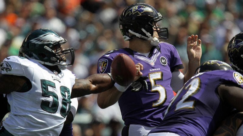 Illustration for article titled Joe Flacco Silences Supporters Once And For All With Terrible Fourth-Quarter Performance