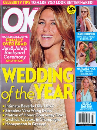 Illustration for article titled This Week in Tabloids: Aniston Wants A Baby, Applegate Is Ailing, & Cyrus Is A Not-So-Secret Sexpot