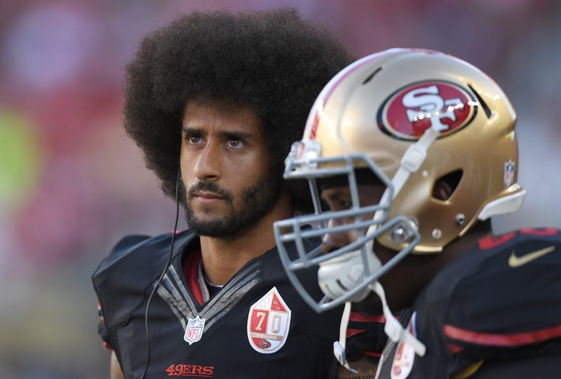 Colin Kaepernick of the San Francisco 49ers looks on from the sidelines against the Arizona Cardinals during their NFL football game at Levi's Stadium in Santa Clara, Calif., on Oct. 6, 2016.  Thearon W. Henderson/Getty Images