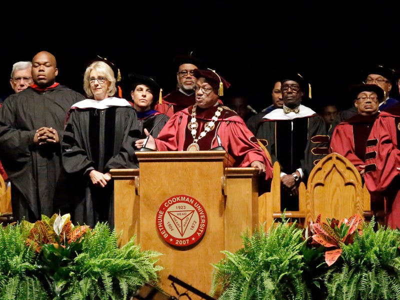 Bethune-Cookman University President Edison Jackson appeals to protesters disrupting Secretary of Education Betsy DeVos' speech during commencement exercises May 10, 2017, in Daytona Beach, Fla. (John Raoux/AP Photo)