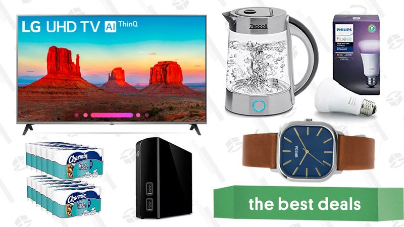 Illustration for article titled Saturday's Best Deals: 4K Smart TV, Philips Hue Bulbs, Breda Watches, and More