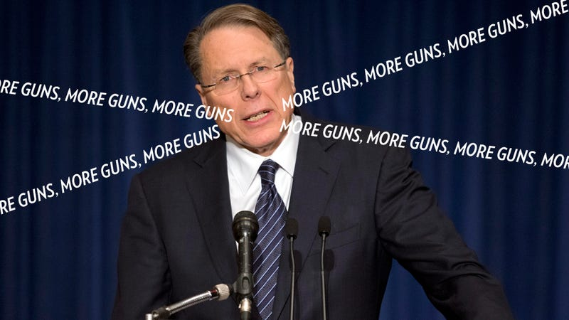 Illustration for article titled 'The Only Thing That Stops a Bad Guy With a Gun Is a Good Guy With a Gun' and Other Horrifying Lies From Today's NRA Press Conference