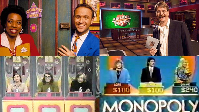 Clockwise from top left: Where In The World Is Carmen Sandiego?, Are You Smarter Than A 5th Grader?, Monopoly, and To Tell The Truth