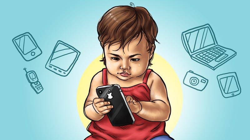 young kids with gadget addiction