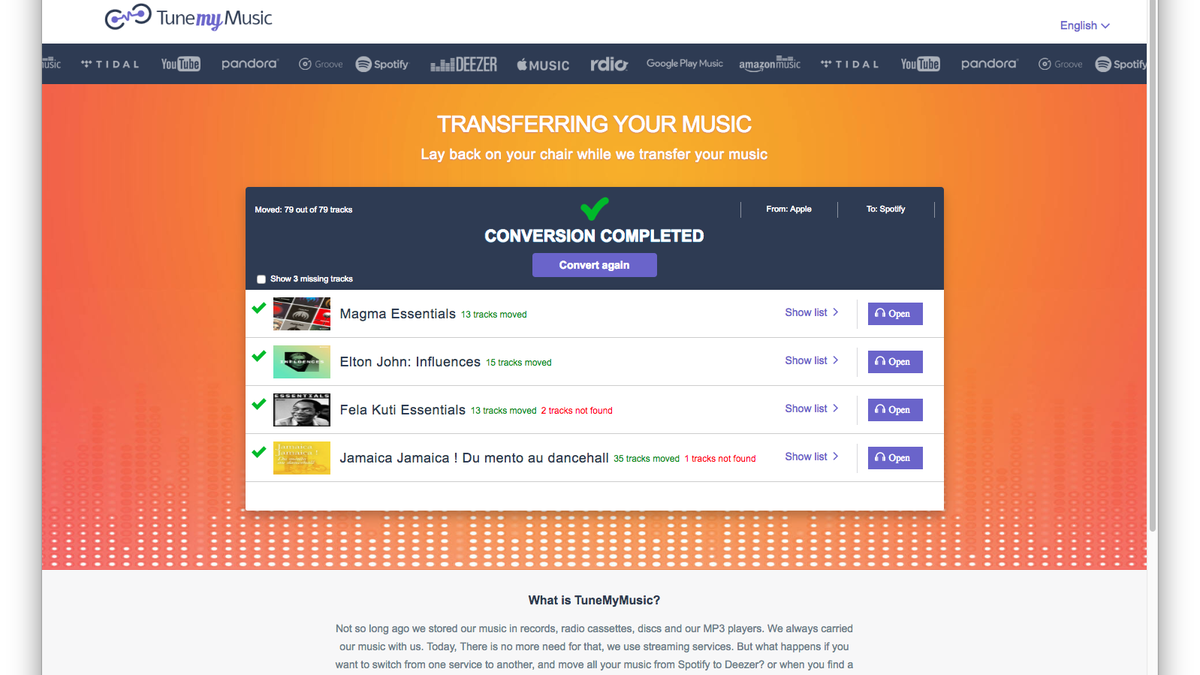 Transfer Music Between Streaming Services With Houdini and Tune My Music