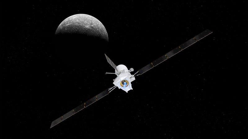 Una ilustración muestra a BepiColombo llegando a Mercurio.