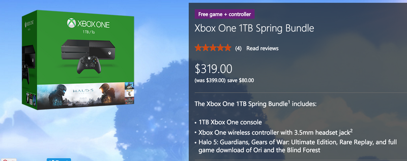Xbox One 1TB Spring Bundle + Extra Game + Extra Controller, $319
