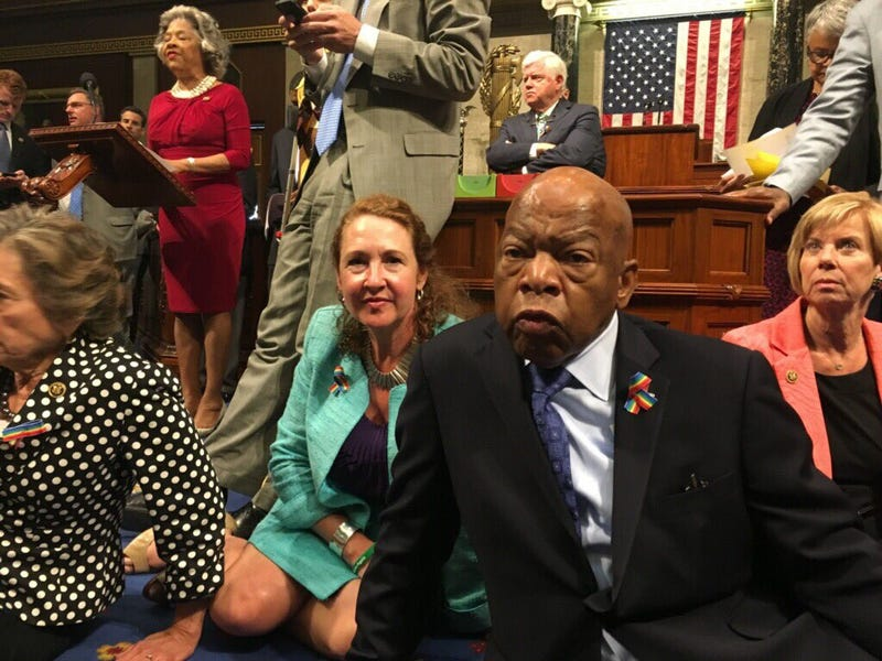 Rep. John Lewis (front, right) stages sit-in with fellow Democrats to demand a vote on gun control June 22, 2016, on Capitol Hill in Washington, D.C.Rep. Elizabeth Esty via Twitter