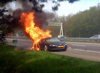 Illustration for article titled Audi R8 Remembers It's A Lamborghini, Catches Fire