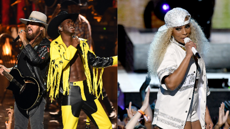 (L-R): Billy Ray Cyrus & Lil Nas X and Mary J. Blige perform onstage at the 2019 BET Awards on June 23, 2019 in Los Angeles, California.