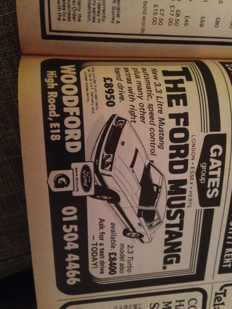 Illustration for article titled Apparently you could buy a new RHD Mustang in 1981