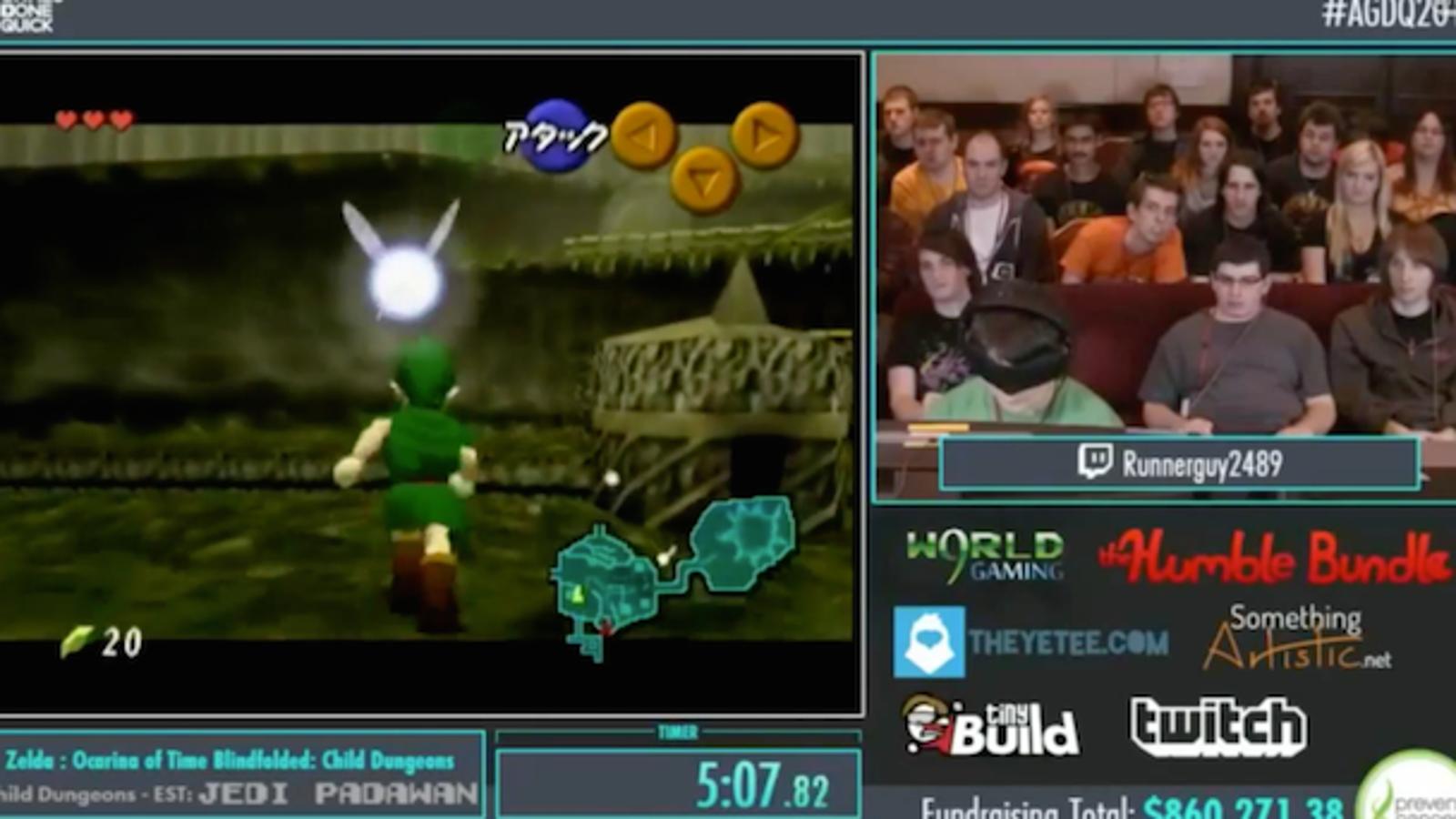 Mira cómo completan parte de Zelda Ocarina of Time con los ojos vendados