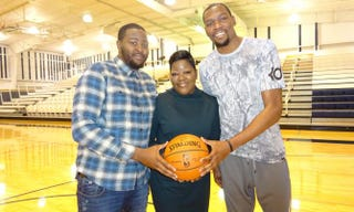 Wanda Durant with her sons, Tony (left) and KevinPriscilla Clarke PR