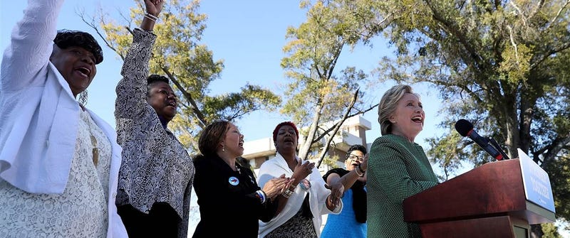 The Mothers of the Movement standing behind Democratic presidential nominee Hillary Clinton (right)Jeffrey Wright